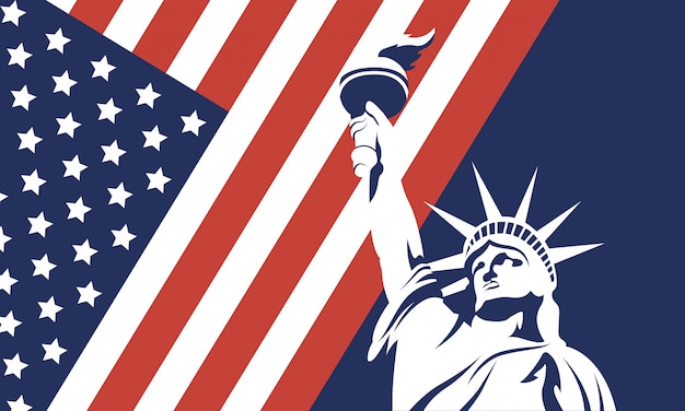 Usa liberty statue with flag of 4th july