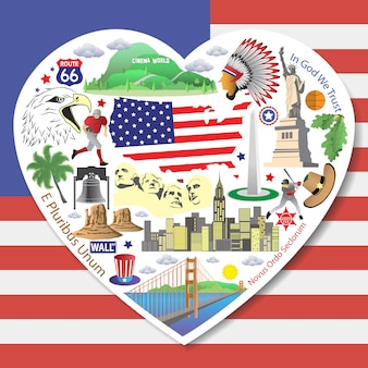 Usa love. set american icons and symbols in form of heart