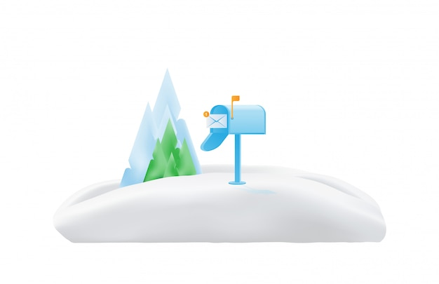 封筒の緑と雪の中で木と山のアメリカのメールボックス
