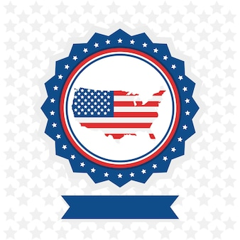 Дизайн иллюстрации значка карты сша