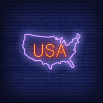 Usa map on brick background. neon style illustration. usa banner.