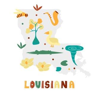 미국 지도 컬렉션입니다. 회색 상태 실루엣에 상태 기호 및 자연 - 루이지애나. 인쇄용 만화 간단한 스타일