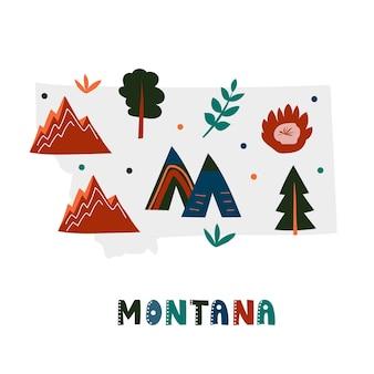 미국 지도 컬렉션입니다. 회색 상태 실루엣 - 몬태나에 상태 기호 및 자연. 인쇄용 만화 간단한 스타일