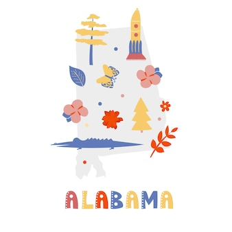 Usa map collection. state symbols on gray state silhouette - alabama