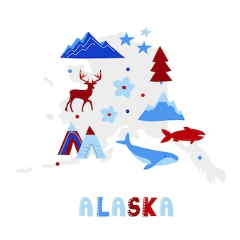 Usa map collection. state symbols on gray state silhouette - alaska
