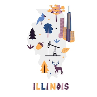 Usa map collection. state symbols on gray state silhouette - illinois
