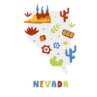 Usa map collection. state symbols on gray state silhouette - nevada