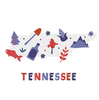 Usa map collection. state symbols on gray state silhouette - tennessee