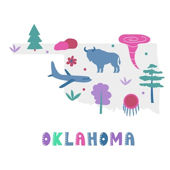 Usa map collection. state symbols and nature on gray state silhouette - oklahoma. cartoon simple style for print