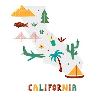 Коллекция карт сша. государственные символы на сером государственном силуэте - калифорния