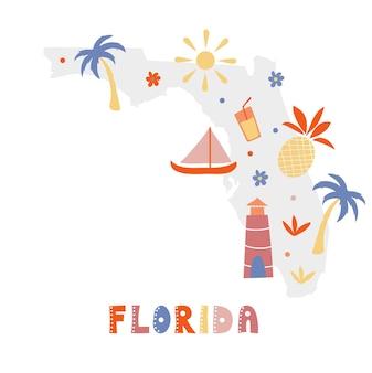 Коллекция карт сша. государственные символы на сером государственном силуэте - флорида