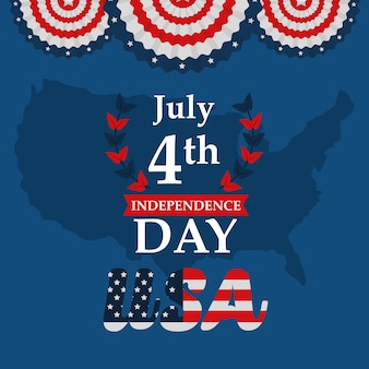 Usa map emblem american independence day vector illustration