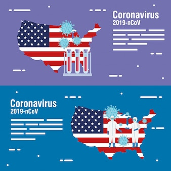 Usa map and flag with covid19 particles and tubes test