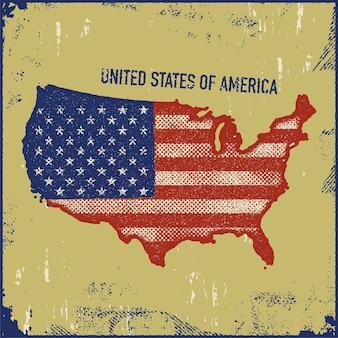 미국지도 그런 지 스타일 그림입니다.
