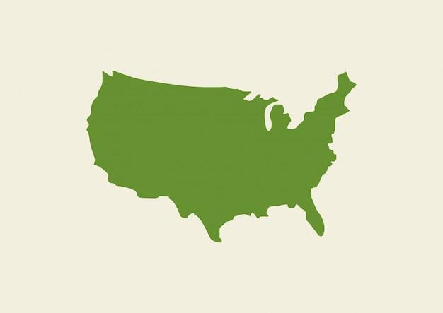 배경에 고립 된 미국지도