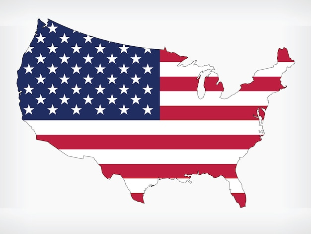 Карта сша флаг америки