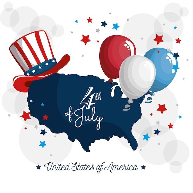 アメリカの帽子と風船のあるアメリカの地図