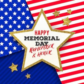 Usa memorial day greeting card design Premium Vector