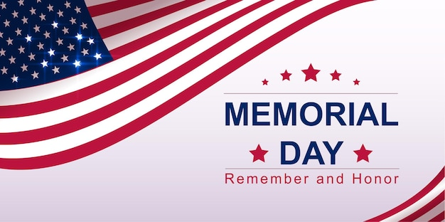 Usa memorial day text banner greeting card template.