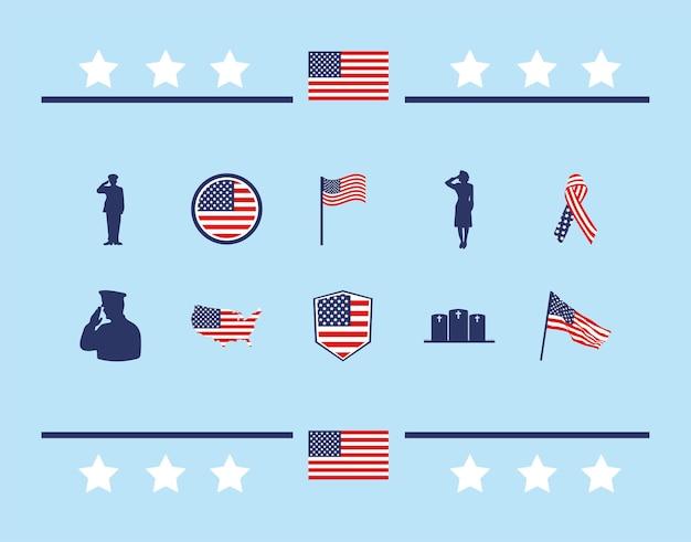 미국 기념 아이콘 세트