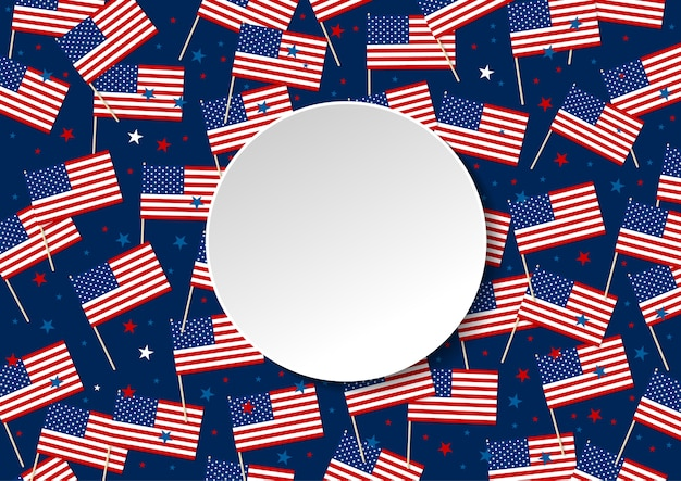 アメリカまたはアメリカの旗と星は、コピースペースと青の背景に分離