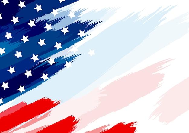 흰색 배경에 미국 또는 미국 국기 붓