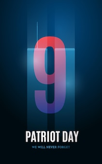 Usa patriot day poster with twin towers silhuette and text