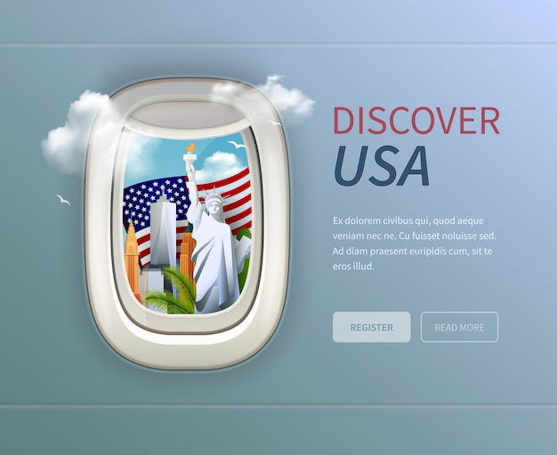 Usa porthole background with discover usa headline and register and read more buttons