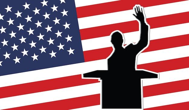 Usa president black silhouette on the usa flag background