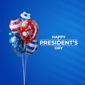 Usa president's day background with realistic balloons