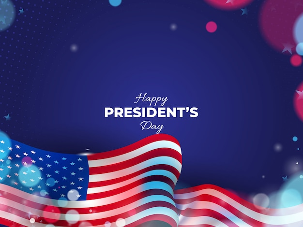 Usa president's day background with wavy flag and blurred lights