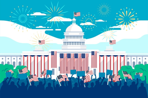 Usa presidential inauguration illustration with white house and fireworks