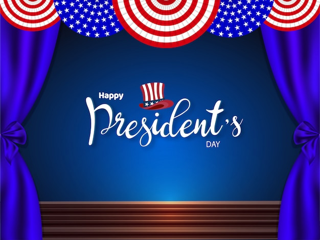 Usa presidential stage background for happy president's day