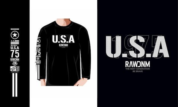 미국 원시 데님 타이포그래피 디자인 t 셔츠 디자인 일러스트 프리미엄 벡터