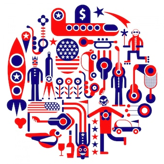 Usa round illustration