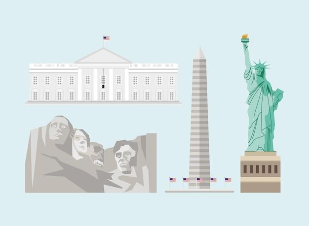 Usa set four monuments landmarks