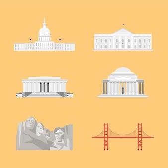 Usa set monuments landmarks state