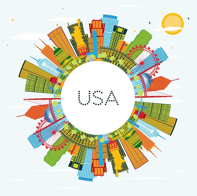 컬러 고층 빌딩과 랜드마크가 있는 미국 스카이라인. 벡터 일러스트 레이 션. 현대 건축과 비즈니스 여행 및 관광 개념입니다. 프레젠테이션 배너 현수막 및 웹사이트용 이미지.