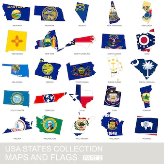 アメリカ合衆国の州のコレクション、地図と旗、パート2