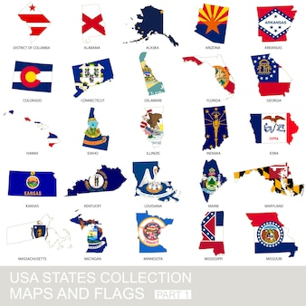 Usa state collection, maps and flags, part 1