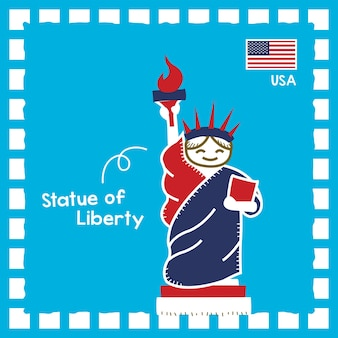 귀여운 스탬프 디자인으로 미국 자유의 여신상 랜드마크 그림