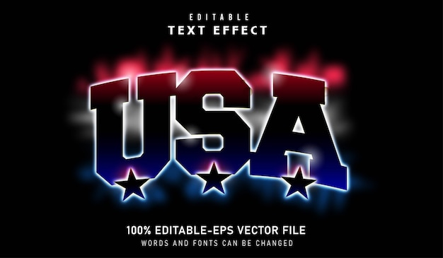Usa text effect with red white and blue streaks of light and black stars