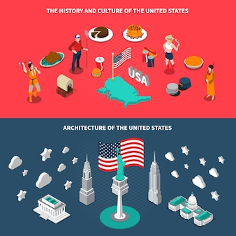 Usa touristic attractions isometric banners
