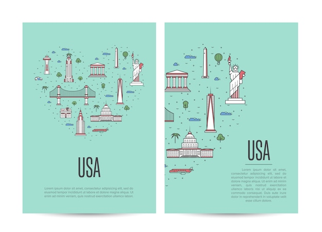 Usa travel tour booklet set in linear style