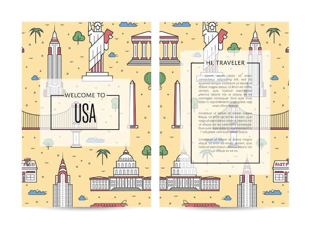 Usa traveling brochure template set in linear style