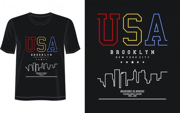 アメリカのプリントtシャツのタイポグラフィ