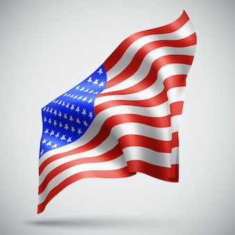 Usa vector 3d flag isolated on white background