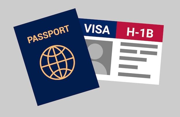 Сша viza h1b visa в сша временная работа для иностранных квалифицированных рабочих по специальности Premium векторы