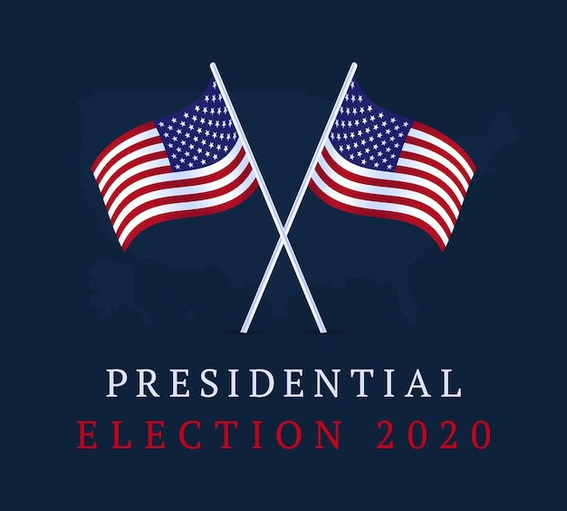 Usa vote banner. 2020 united states of america presidential election banner. election background vote 2020 with american flag