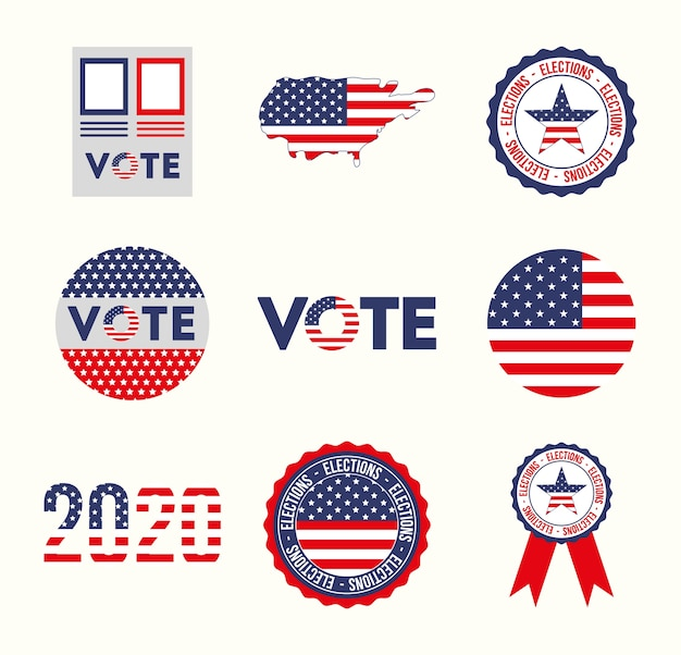 Usa and vote icon set design, president election government and campaign theme